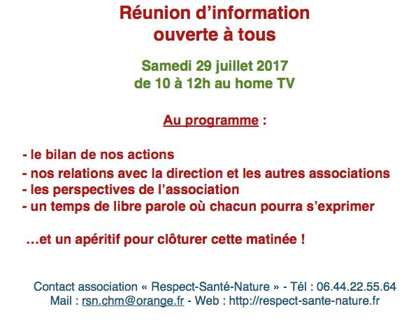 Reunion D Information Rsn 29 Juillet 2017 A 10h Home Tv Respect